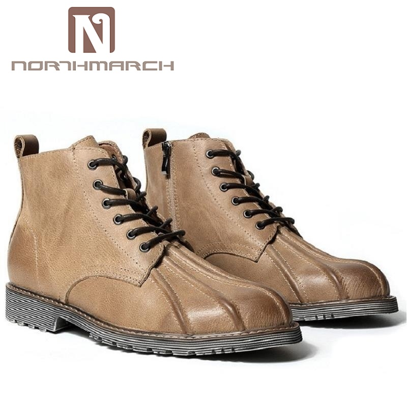 NORTHMARCH Mens Leather Ankle Boots Brand Luxury Leather Men Winter Military Boots Casual Lace Up British style Men Shoes Black