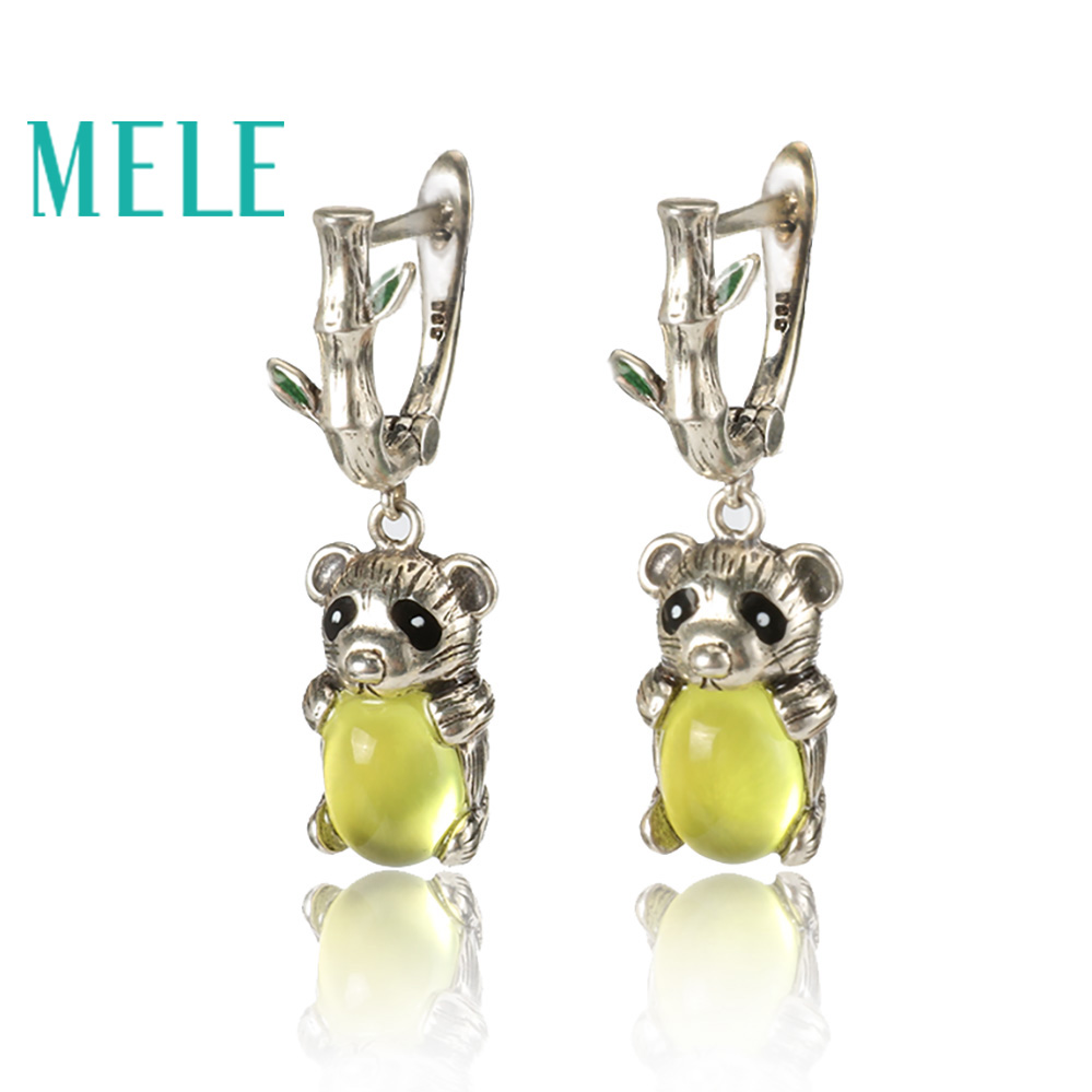 Yellow natural prehnite silver dangle earring for women and grils cute animal Panda shape fashion and