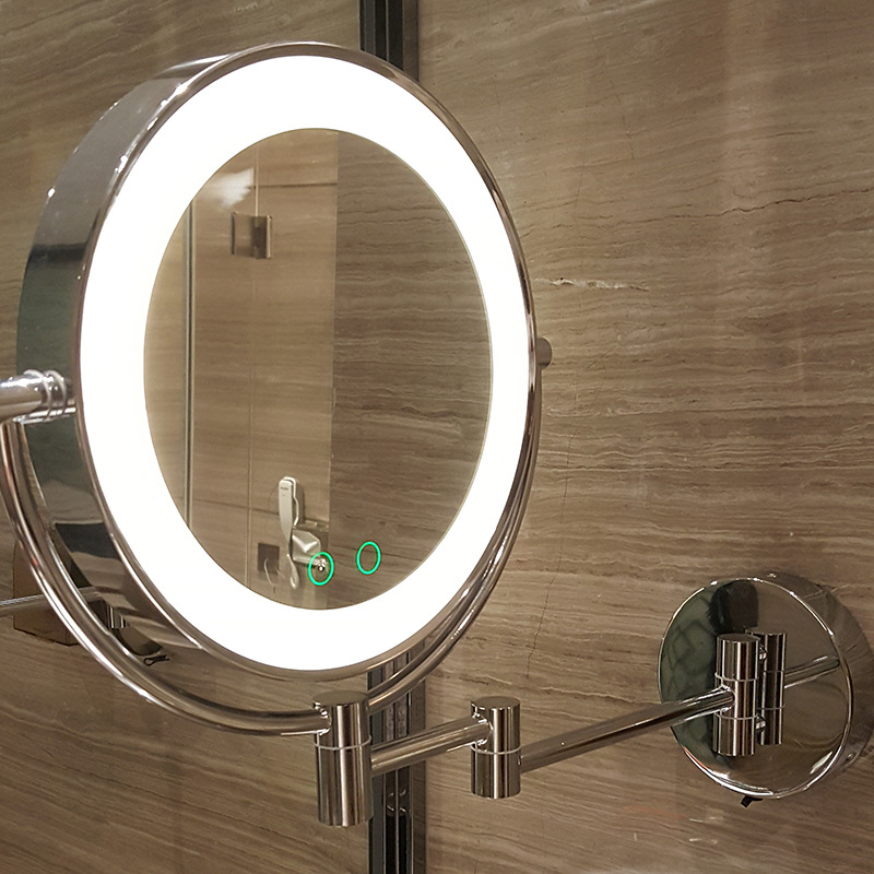 8Wall Mounted Led Makeup Bath Mirror Metal Extending Folding Double Side Round LED Light Vanity Mirror 5x Magnification new fashion 6 inches led bathroom mirror dual arm extend 2 face metal makeup mirror 5x magnifying wall mounted extending folding