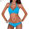 2016 новый женщины холтер бинты бикини набор из двух частей цветочные купальники женский бикини купальник летний пляж купальный костюм