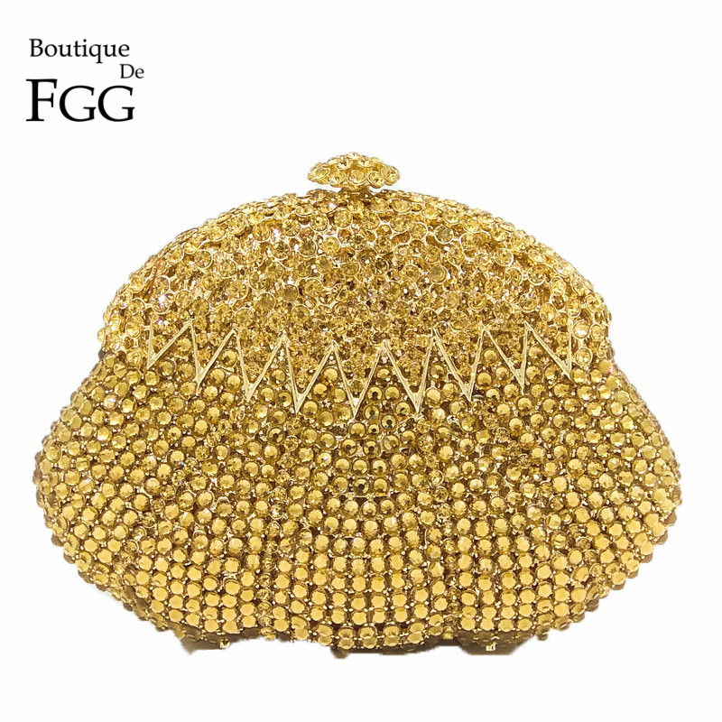 Boutique De FGG Dazzling Gold Crystal Women Evening Clutches Bag Hollow Out Diamond Party Handbags Bridal Clutch Wedding Purse gold plating floral flower hollow out dazzling crystal women bag luxury brand clutches diamonds wedding evening clutch purse