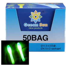 100 PCS/Box 4.5*37mm Big Head Luminous Stick Fishing Float Accessories Green Fluorescent Chemical Wand Tube Fishing Glow Sticks