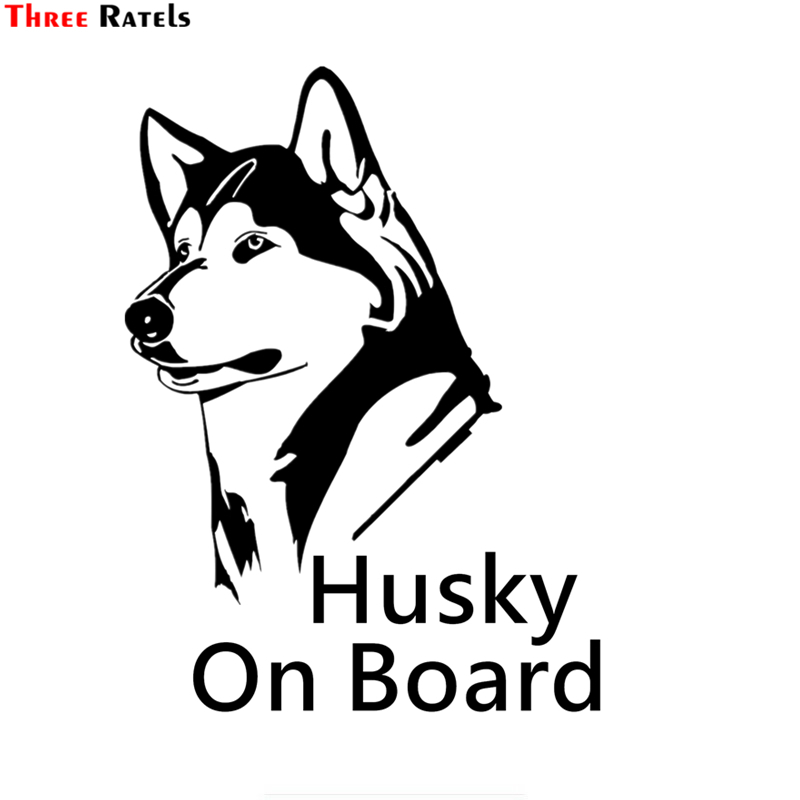 Three Ratels TZ-1185 20*14.7cm 1-3 Pieces Husky On Board Car Sticker Funny Car Stickers Auto Decals