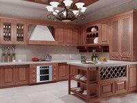 2017 индивидуальные твердой древесины кухонные шкафы с деревянные двери панель антикварной кухонной мебели