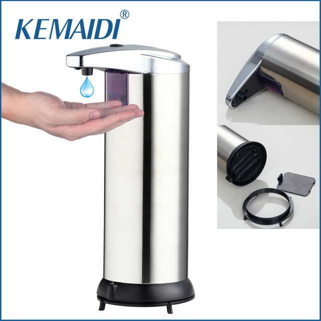 KEMAIDI Modern Automatic Sensor Soap Dispenser Stainless Steel Hands Free  Touch Sanitizer Dispenser For Kitchen/