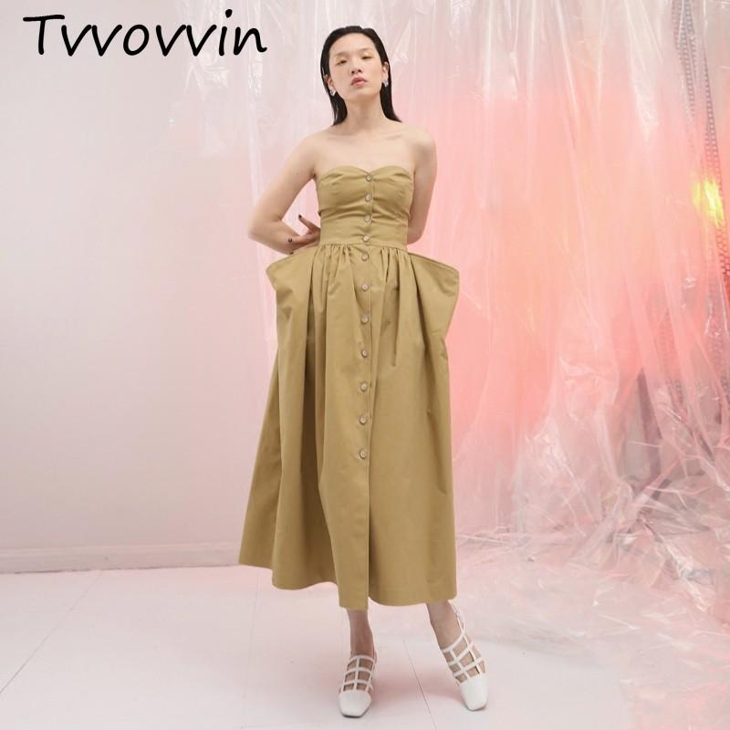 TVVOVVIN 2019New printemps été sans bretelles kaki bouton plissé Split Joint poche lâche tempérament robe femmes mode marée V607