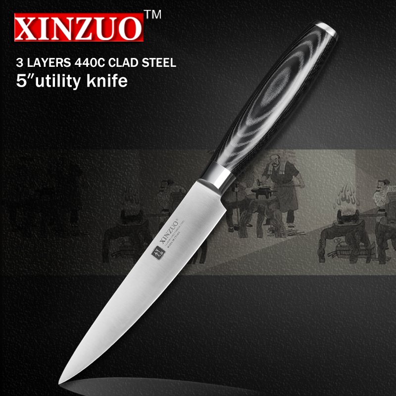 XINZUO 5 inch utility knife three layer 440C clad steel kitchen knife micarta handle peeling knife