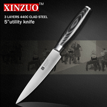XINZUO 5 zoll universalmesser drei schicht 440C verkleidet stahl küchenmesser micarta griff peeling messer küche tackle kostenloser versand