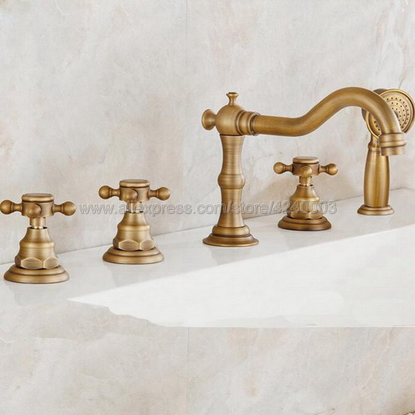 Antique Brass Roman Bathtub Mixer Faucet Set with Handheld Shower Deck Mounted 5 Holes Hot and Cold Taps Ktf035Antique Brass Roman Bathtub Mixer Faucet Set with Handheld Shower Deck Mounted 5 Holes Hot and Cold Taps Ktf035