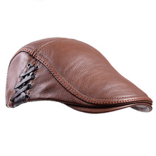 Mens 100% Genuine Leather Real Cowhide Military Peaked cap Army Beret Newsboy Hats/caps