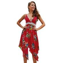 5204d6c2d Flor do verão Cinta Impressão Profunda V Rendas Pescoço Patchwork Costura  Irregular Hem Vestido Vermelho Sexy Vestidos Mujer Mul.
