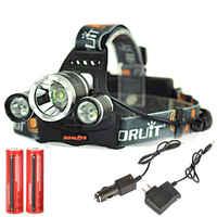 Boruit 6000LM 3x XM-L T6 LED Stirnlampe Kopflampe Licht 2x18650 USB EU Ladegerät