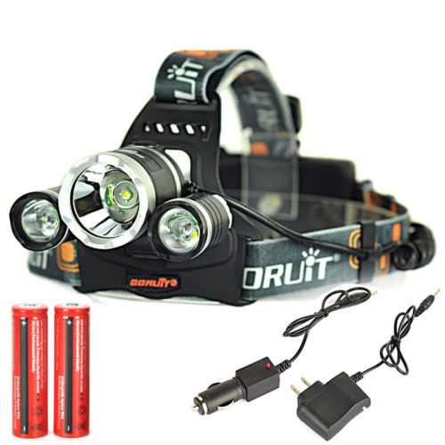Boruit 6000LM 3x XM-L T6 LED Stirnlampe Kopflampe Licht 2x18650 USB EU Ladegerat