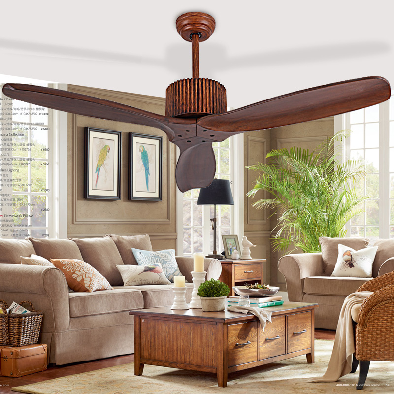 European Modern Wooden Ceiling Fan With Remote Control