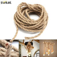 SWILET 10 M 2x0.75mm Chanvre Corde Fil Rétro DIY Tressé Tissu Électrique Fils Câble Double Twisted Pendentif lampe Câble Fil