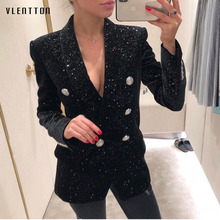 Newest Fashion long Blazer Women Spring autumn 2019 office elegant Double Breasted Sequined black blazer ladies jacket tweed blazer women elegant double breasted office blazer femme fashion black sequin long blazer spring jacket ladies blazer