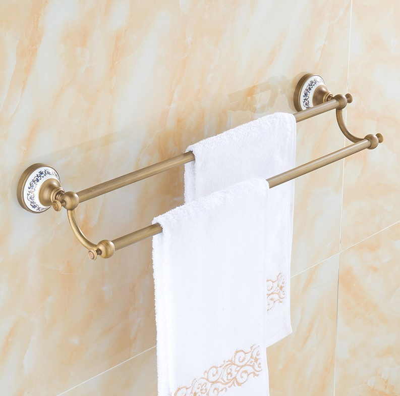 Bathroom accessories,Brass Material Antique Finish Double Towel Bar&Towel Rack/Fashion ceramics creative Design Bath Products 2016 bathroom accessories brass material antique brass black finish single towel bar