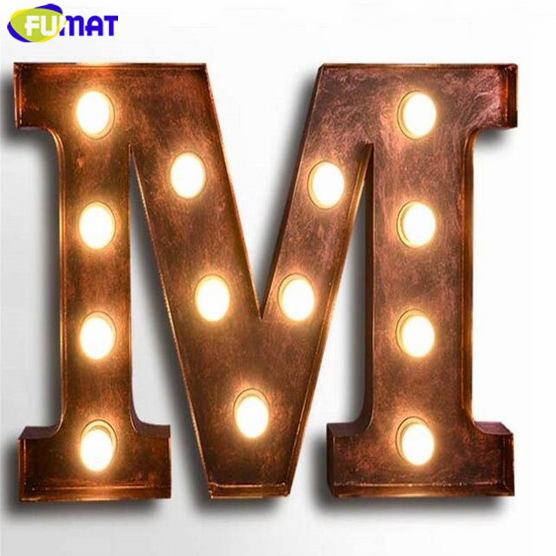 Vintage Letter Wall Lights : FUMAT Letters M Wall Lamps Vintage Art Deco Lamp Cafe Bar American Industrial Loft Wall Light ...