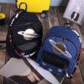 2016 Mulher mochila estrutura do diamante mochila para meninas de design da marca cadeias sacos de viagem mulher denim estrela mochila Saturno mochila