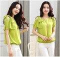 Продвижение 2016 Лето Новый Стиль Корейской Моды Женщины Блузки Blusas Старший Подтяжки Половина рукавами Базовый Рубашка, плюс Размер