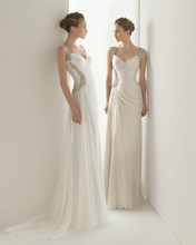 free shipping 2013 New Beaded Strap Chiffon Wedding Bridesmaid Evening Ball Party Dress Custom