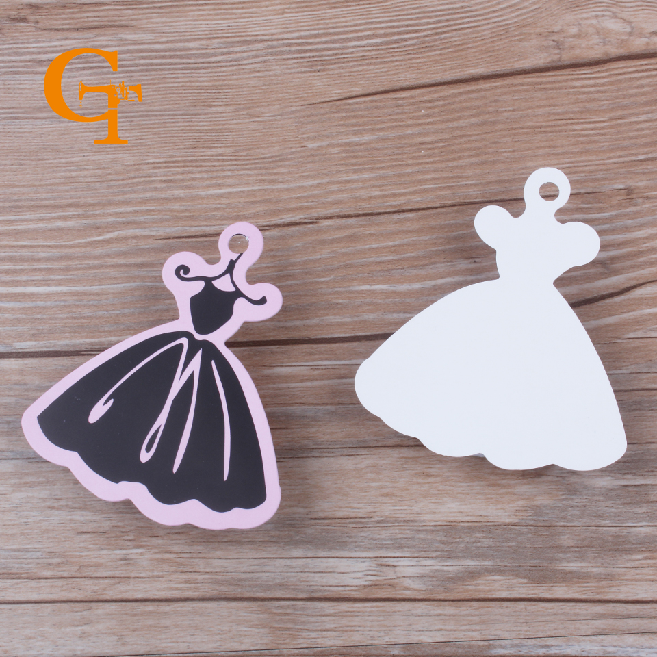 US $14 61 8% OFF high quality Stock Pink Cutedress shape paper clothing  hang tag boutique swing price tag,die cut skirt shape clothes labels  tags-in