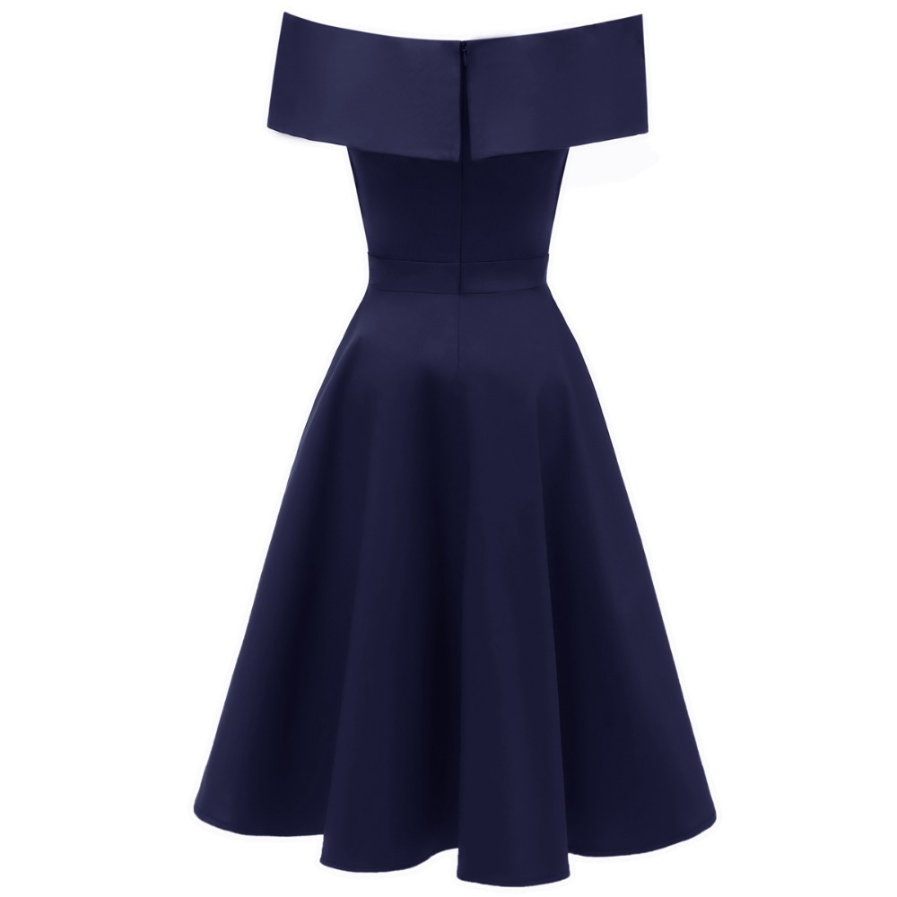 5fb7d0f964a17 US $29.89 20% OFF|Enyuever Vestido Vintage Off The Shoulder Dresses Women  Runway Retro Tunic Midi Robe Rockabilly Elegant Evening Party Dress Jurk-in  ...