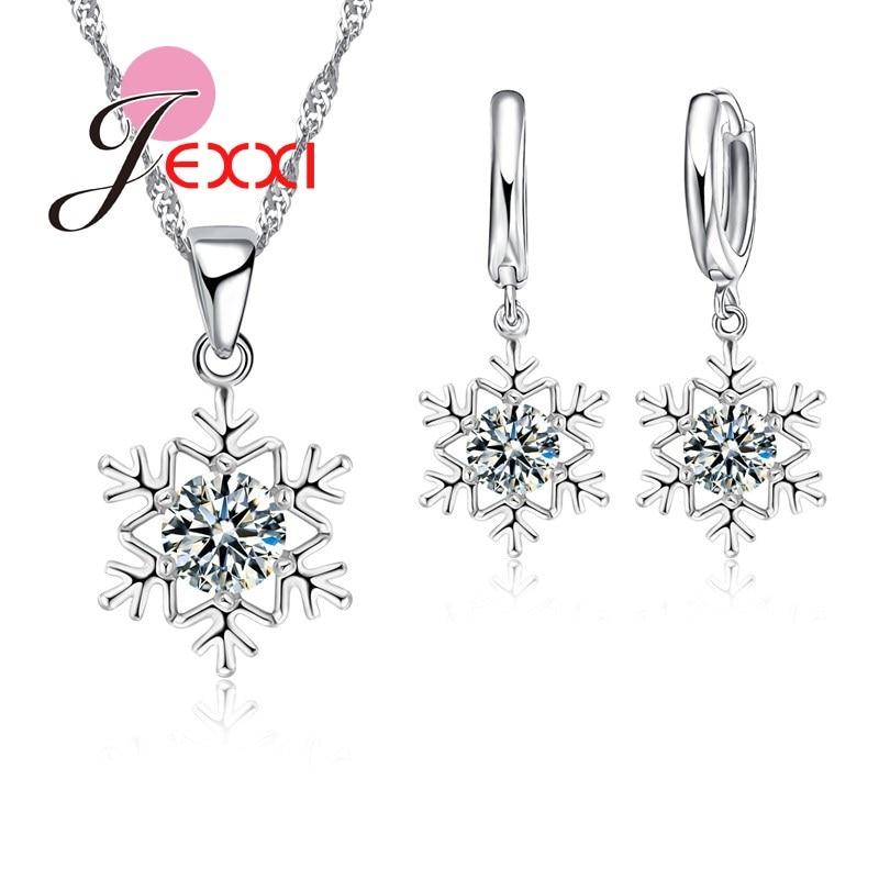 JEXXI Elegant Romantic Snowflake Pendant Crystal Decoration Fashion Silver Chain Necklace Earrings Set Women Christmas Jewelry