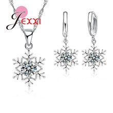 Elegant Romantic Snowflake Pendant Crystal Decoration Fashion Silver Chain Necklace Earrings Set Women Christmas Jewelry(China)