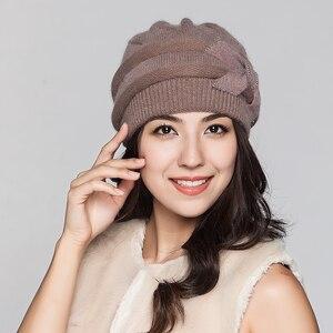 Image 2 - Charles เพอร่าผู้หญิงถักหมวกฤดูหนาว Thicken Double Layer Elegant Casual กระต่าย Hair Blend หมวกผู้หญิงหญิง Beanies D304