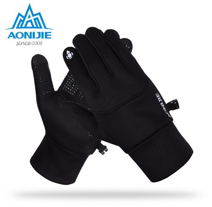 AONIJIE Men Women Outdoor Sports Fleece Touch Screen font b Gloves b font Winter font b