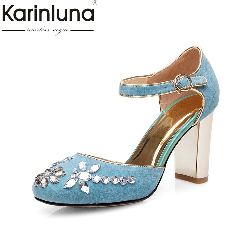 Karinluna 2018 Summer New Arrival Crystal Women Sandals Natural Kid Suede High Heels Shoes Woman Shallow Party Shoe 2017 new arrival abnormal jeweled heels rhinestone crystal embellished high heel sandals ankle strap lock summer party shoes