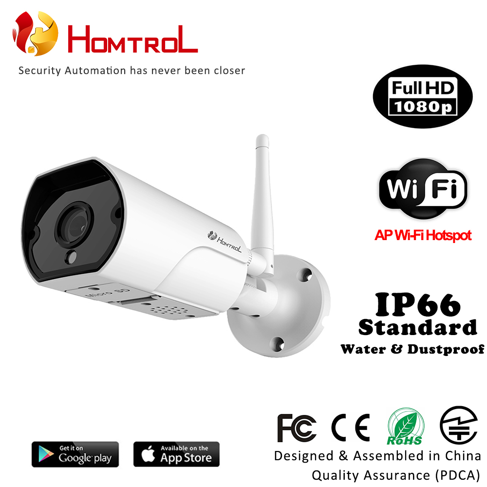 Homtrol Smart Home Wi-Fi Waterproof Bullet IP Camera with AP Hotspot Duplex Two Way Talk 2 Mega Pixel 1080P FHD Resolution 140f1142 devireg smart интеллектуальный с wi fi бежевый 16 а