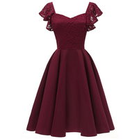 Sisjuly Vintage Pink Lace Sexy Dresses Women 2018 Cap Sleeve Patchwork Elastic Ladylike Prom Elegant Retro A Line Party Dress