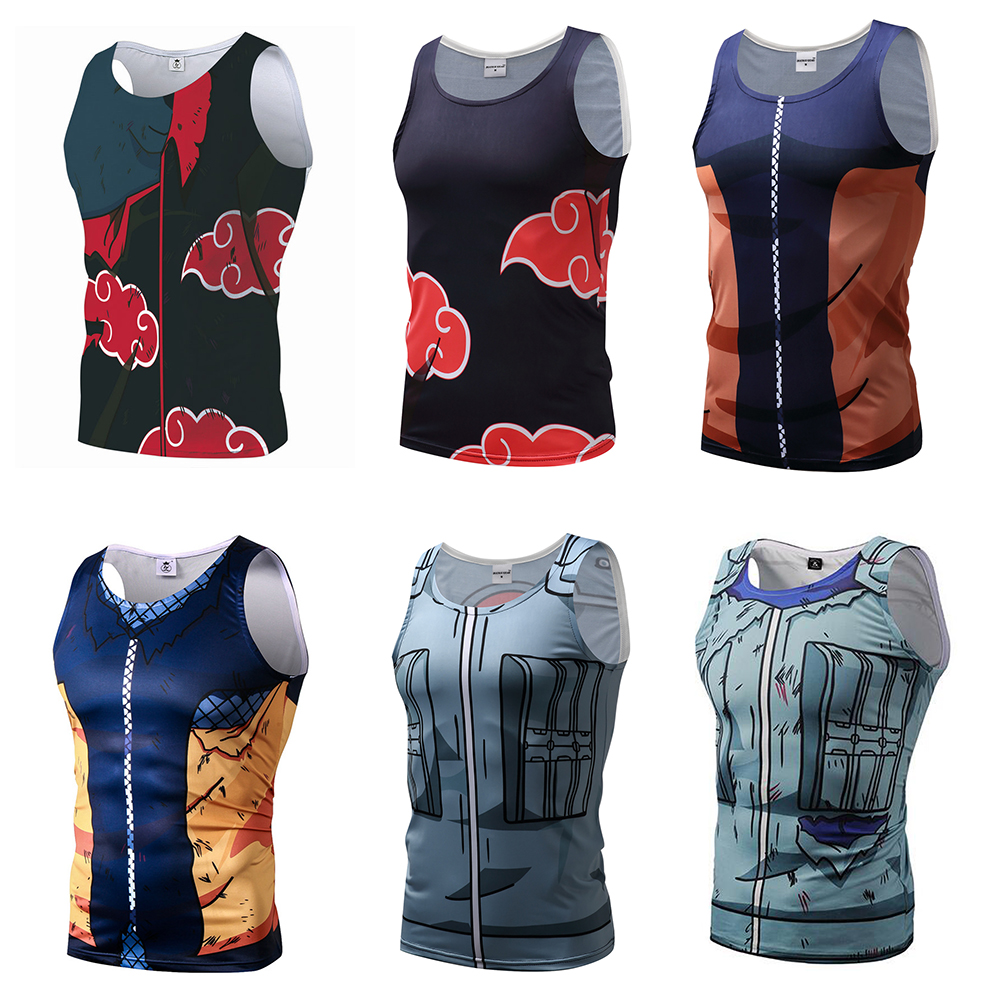 Naruto Top Vest 3D Printed Top Vest Compression Akatsuki Kakashi Sasuke Shirt Tops Crossfit Fitness BodyBuilding Clothes