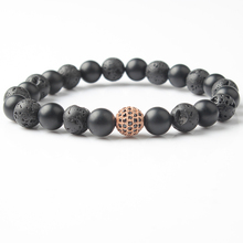 Lingxiang A new handmade volcanic stone lava rock natural beads bracelet couple set in 2018