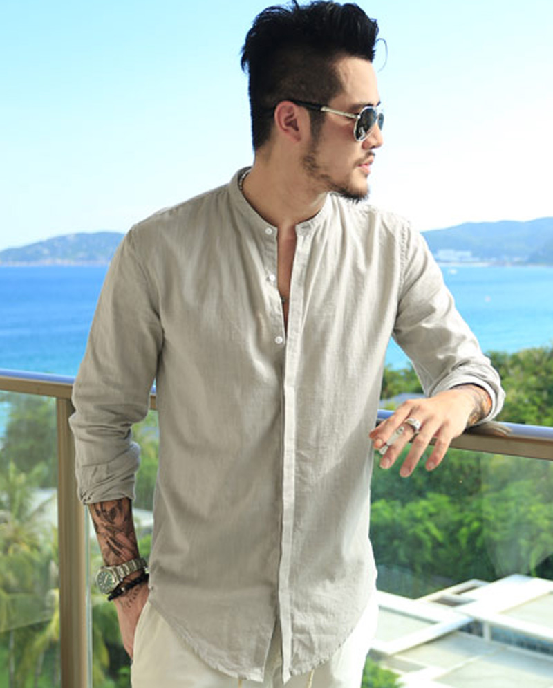 ff0be0681da46c Mens Linen Banded Collar Shirt | Toffee Art