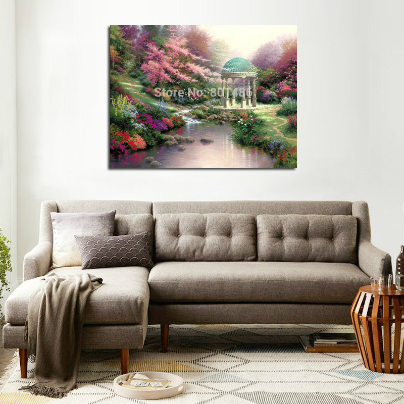 US $11.76 16% OFF|Landscape Flowers Courtyard Prints Pools of Serenity Art  Canvas Painting for Bedroom Wall Art Home Decor Dropshipping Wholesale-in  ...