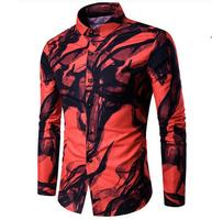 Men 2017 Casual Fashion European Style Wild Digital Printing Ink Long Sleeve Shirt White Red