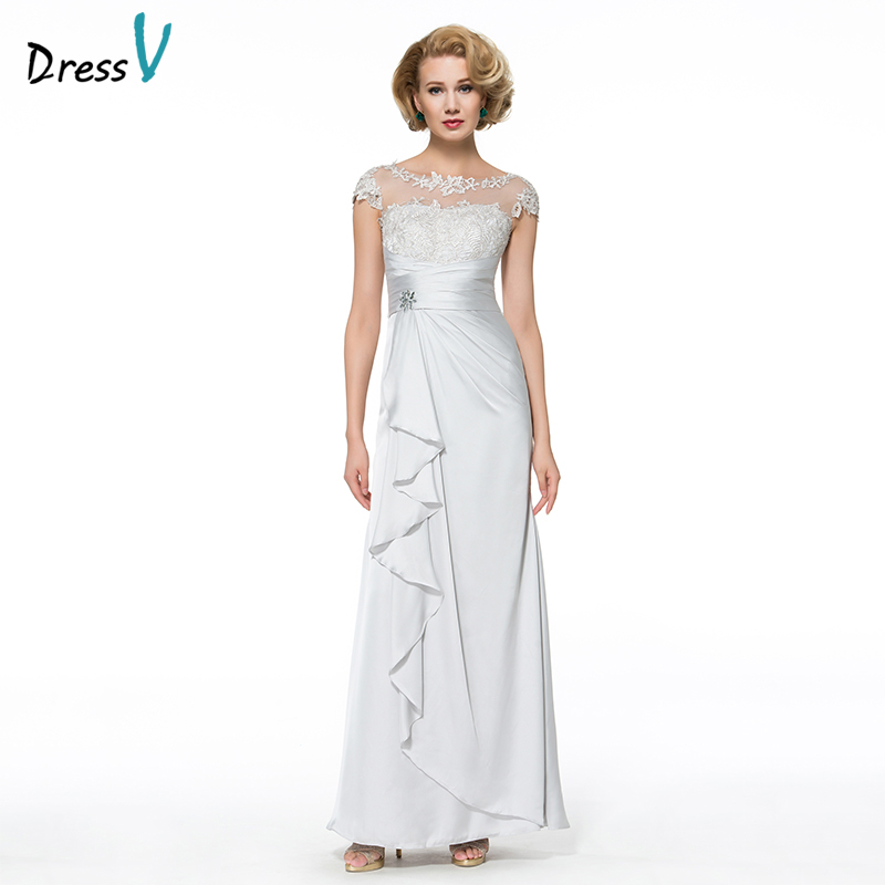 Dressv Long Mother Of The Bride Dress Sheath Cap Sleeves Appliques Beading Lace Satin Chiffon Custom