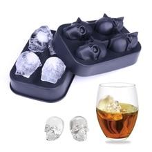 Творческий 4-силиконовые полости Череп Ice производитель кубиков 3D форма Хэллоуин форме виски, вино форма для льда лоток крем выпечки модель