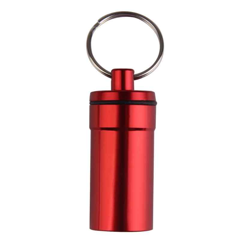 Ferramenta Chave Anel Keychain portátil Pill Box Medicina Titular Container Capsule Pílula Liga de Alumínio À Prova De Água De Armazenamento