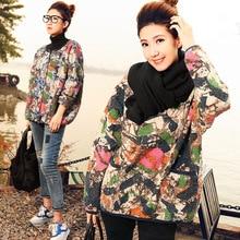 Самостоятельно слева-2016 женщина новый осень зима свободно плюс размер мода жакет печати о-образным вырезом высокое качество ватные хлопка верхняя одежда