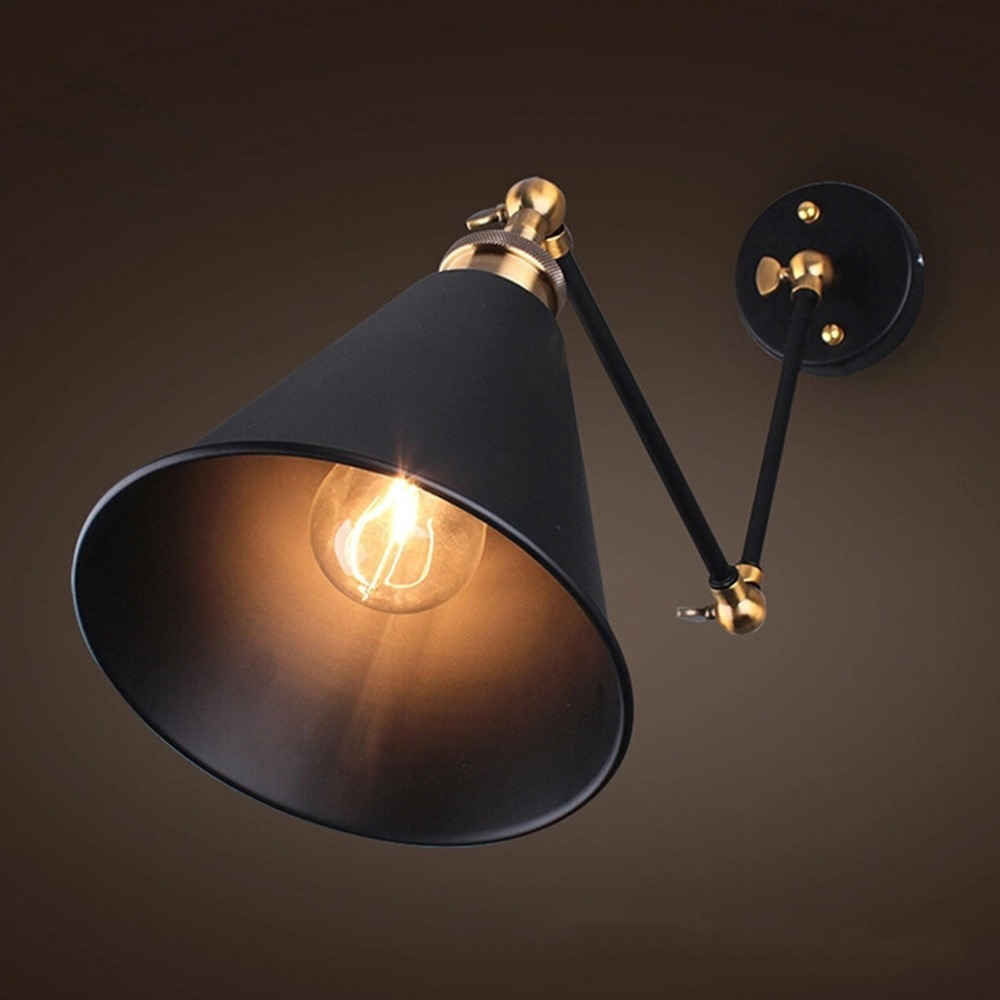 270 Degree Vintage Retro Industrial Swing Arm Sconce Wall Light Loft Lamp Fixture Fitting
