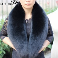 2016 New Arrival Genuine Fox Fur Collars Real Fur Scarf Super Large Luxury Wrap Stole Women