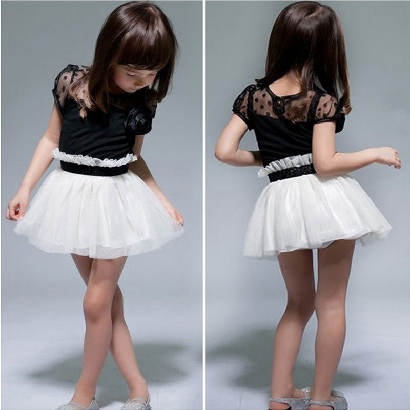 Новые детские платья принцессы для девочек праздничное платье-пачка, детское кружевное платье с цветочным рисунком черный, белый цвет для д...