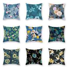 Blue Plants Cushion Cover Tropical Leaves Flowers Soft Peach Skin Sofa Car Bed Decorative Pillow Cases Living Room Decor 45x45cm цены