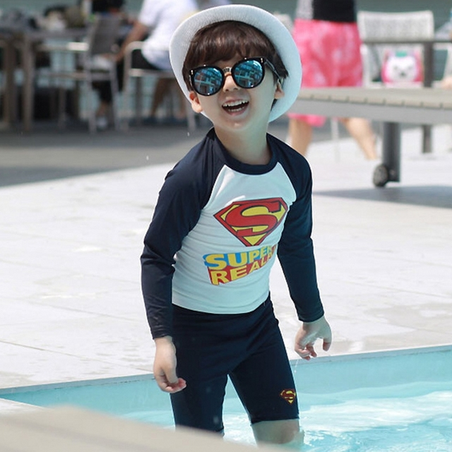 e01d9f1085de0 New Cute Boys Swimsuit 2 Pieces Suits Superman Print Letter S Kids Swimwear  Bathing Suit Beach