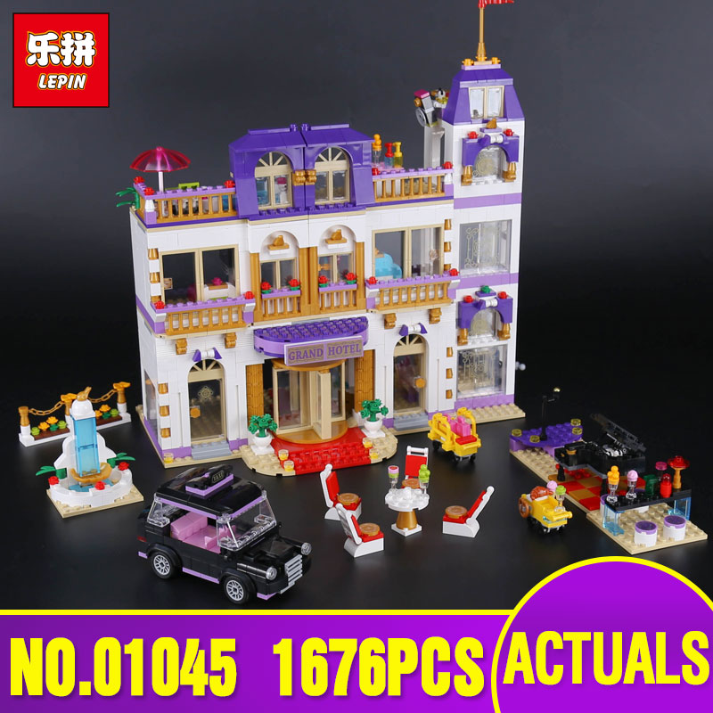 Lepin 01045 Girls Series The Heartlake Grand Hotel Set Children Eucational Building Blocks Bricks Toys legoing 41101 Model Gift ynynoo lepin 02043 stucke city series airport terminal modell bausteine set ziegel spielzeug fur kinder geschenk junge spielzeug