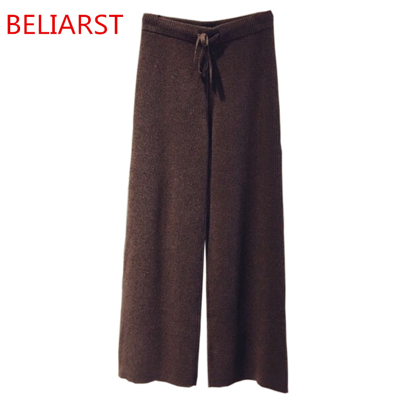 BELIARST Autumn and Winter New Women Wide Leg Pants Poose Casual Cashmere Pants Fashion Striped Knit Pants Free Shipping